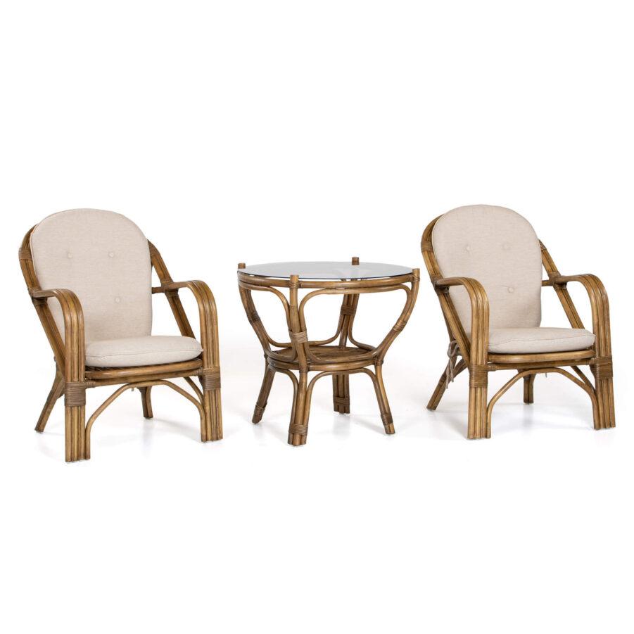 Lotta stol och Amanda bord i brunlaserad rotting.