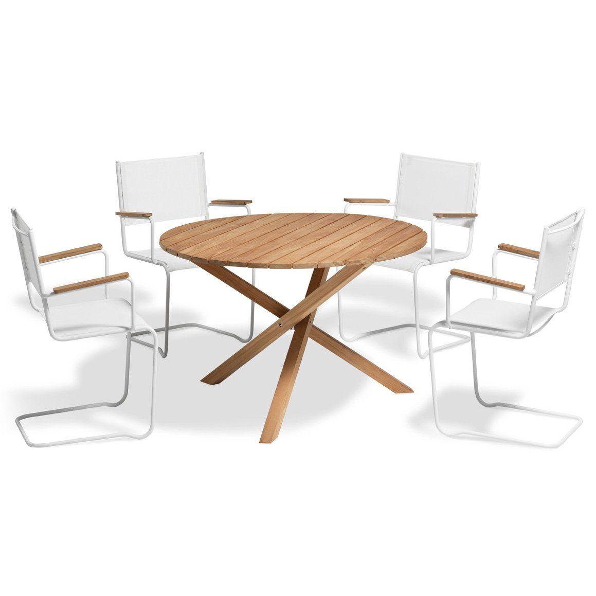 Summer fåtölj i vitt med Summer matbord från Inout | Form.