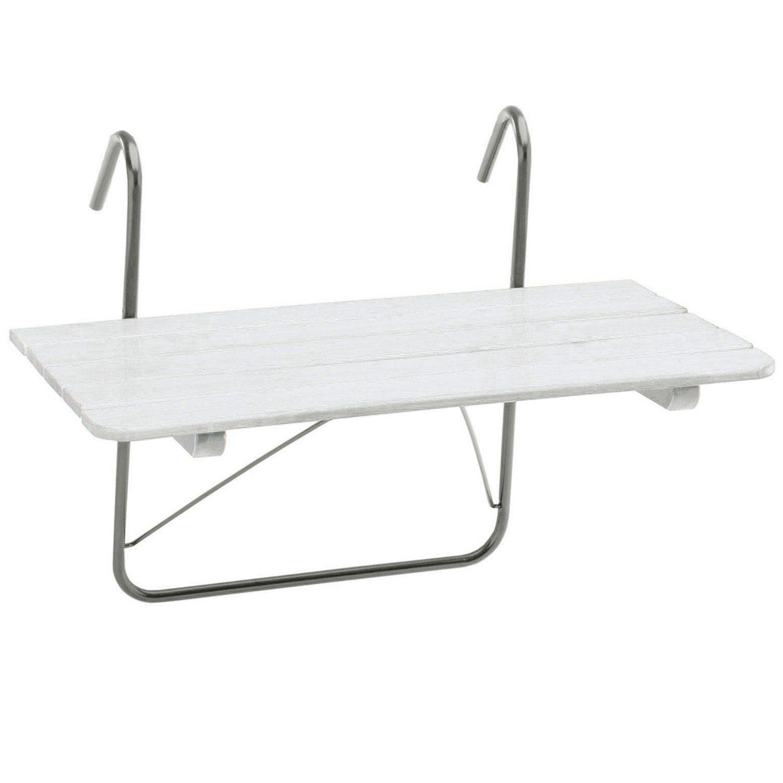 Balkongbord från Hillerstorp i vitmålad furu med galvat stativ.