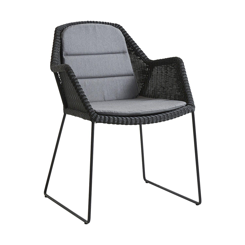 Breeze stol i svart med grå dyna från Cane-Line.