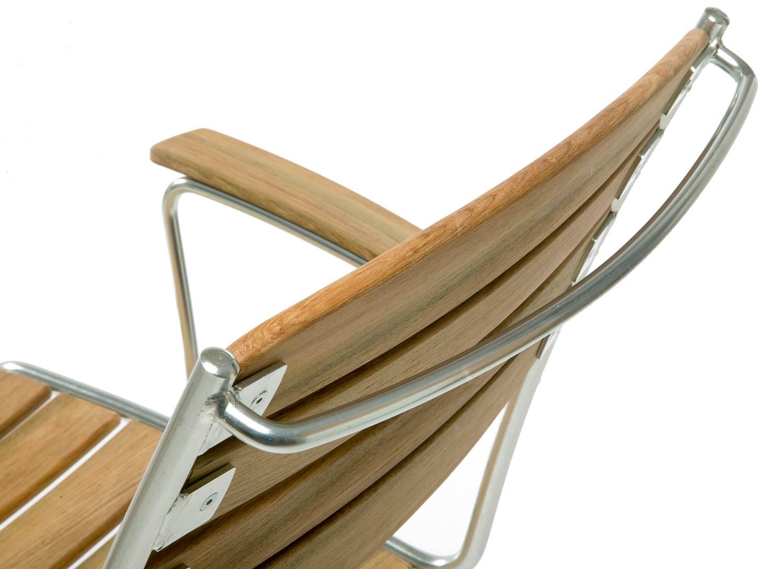 Detaljbild på Spring karmstol i teak designad av Staffan Hultgren.