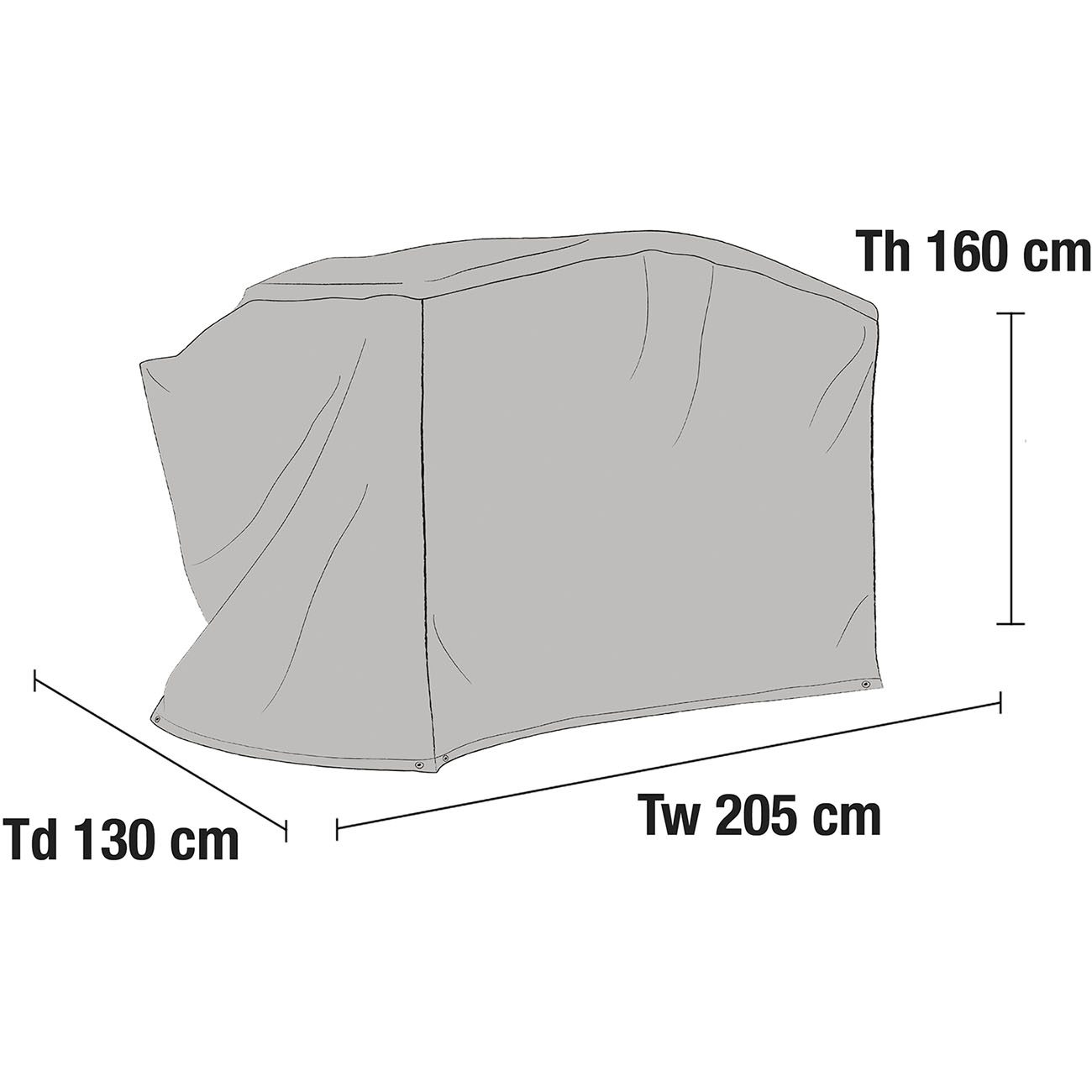 Hammockskydd med välvt tak i grå polyester.