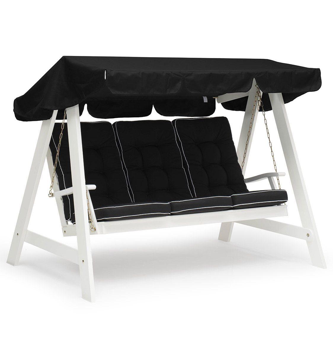 Dalom hammock i vitt med svart tak och svarta dynor från Hillerstorp.