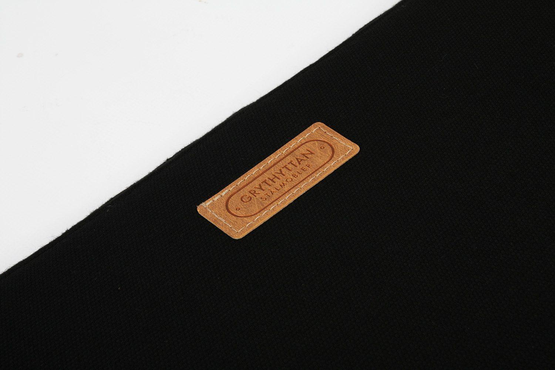 Detaljbild på en svart sittdyna från Grythyttans Stålmöbler.