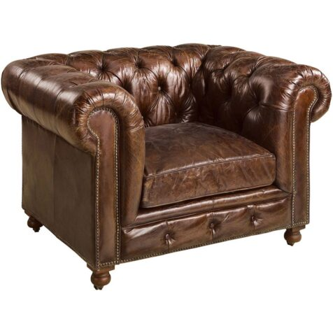 Kensington fåtölj i vintage cigar leather från Artwood.