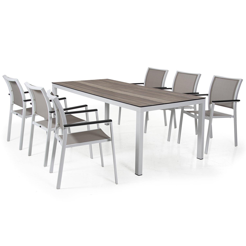 Scilla karmstol i vitt och taupe tillsammans med Rodex matbord från Brafab.