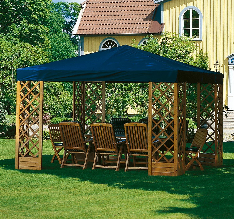 Paviljong De luxe i honungslasyr med blått tak.