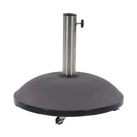 Parasollfot i grå betong med hjul.
