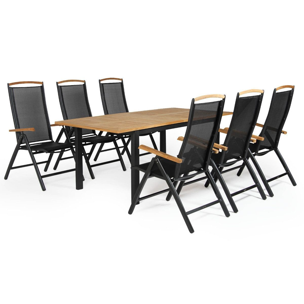 Andy positionsstol tillsammans med Lyon förlängningsbord i teak och svart aluminium.