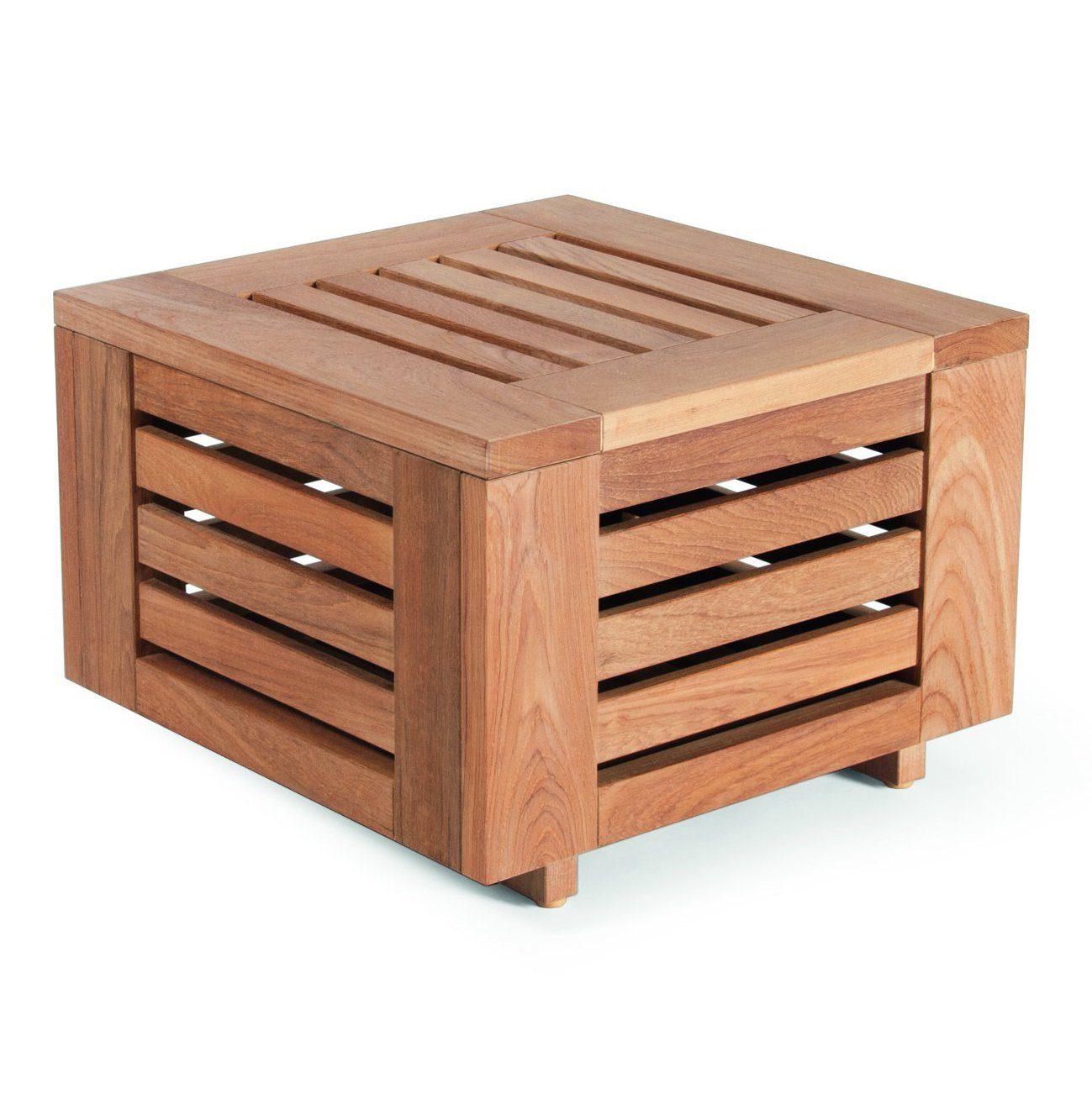 Falsterbo sidobord i teak med måtten 51x51 cm.