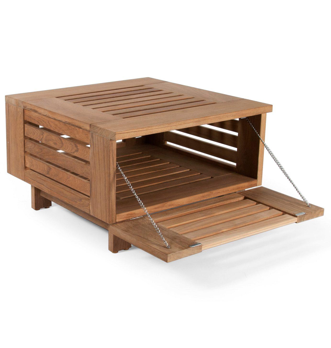 Falsterbo soffbord i teak med öppen sida.