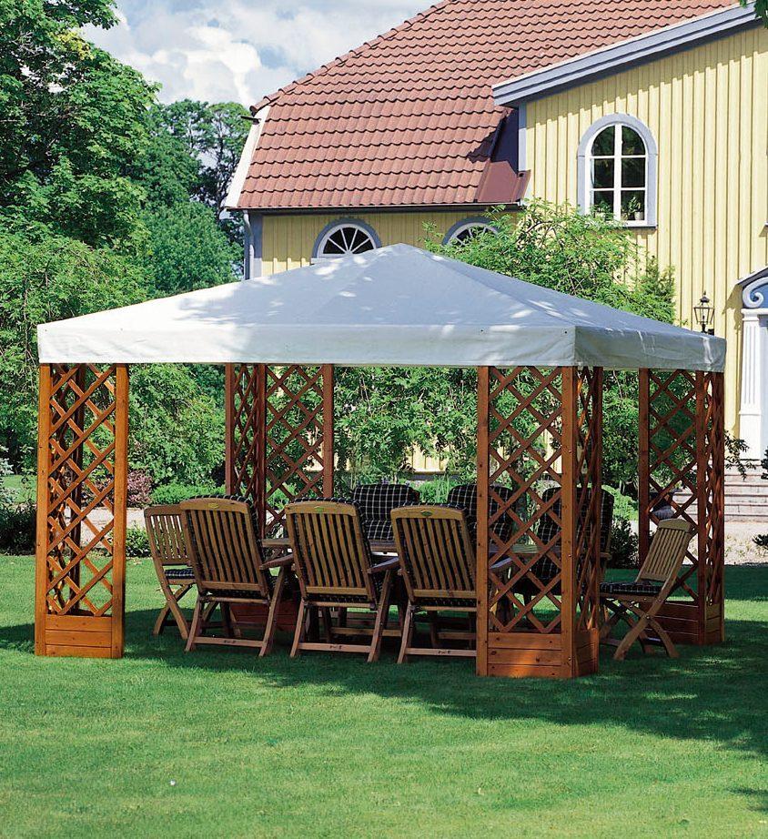 Paviljong De luxe i honungslasyr med vitt tak.