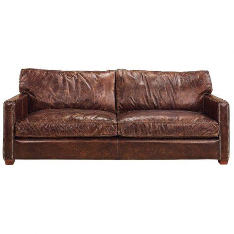 Viscount 3-sits soffa i brunt läder
