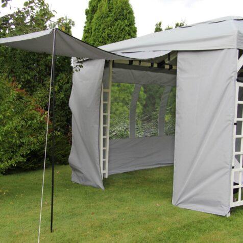 Hov sidovägg 3 m bred, grå, 1 styck öppningsbar med stag för upphängning, grå