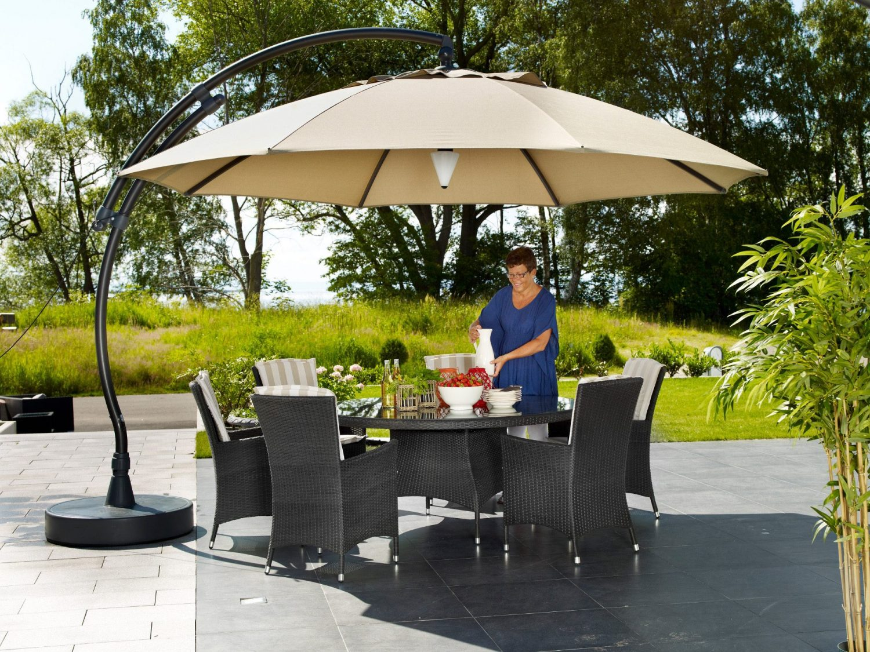 Easy Sun parasoll Ø 3,75 m, antracitfärgat stativ och sandfärgad duk