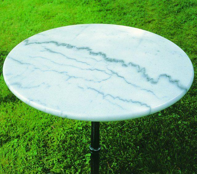 Marmorbord grå skiva, grå/svart fot, diam. 60 cm