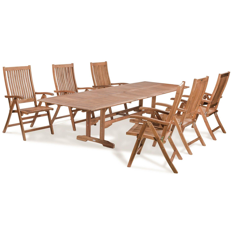 Everton matgrupp i hardwood med 6 stolar och 1 rektangulärt förlängningsbart bord.