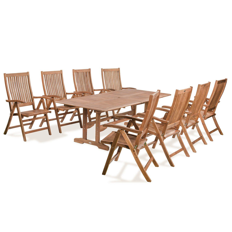 Everton matgrupp i hardwood med 8 stolar och 1 rektangulärt förlängningsbart bord.