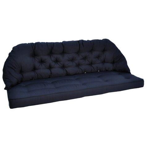 Rygg och sittdyna i blå dralon från Fritab.