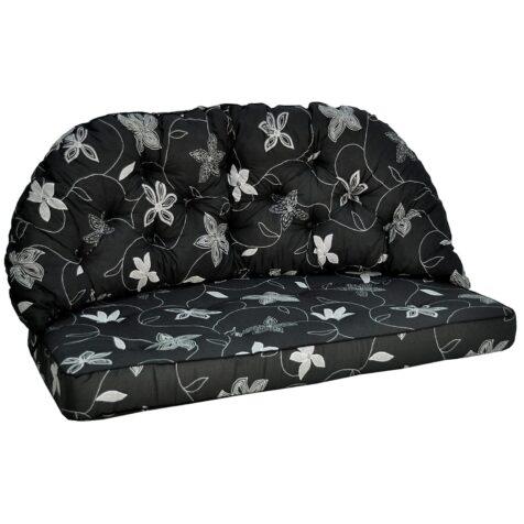 Sitt och rygg dyna i svart bomull från Fritab.