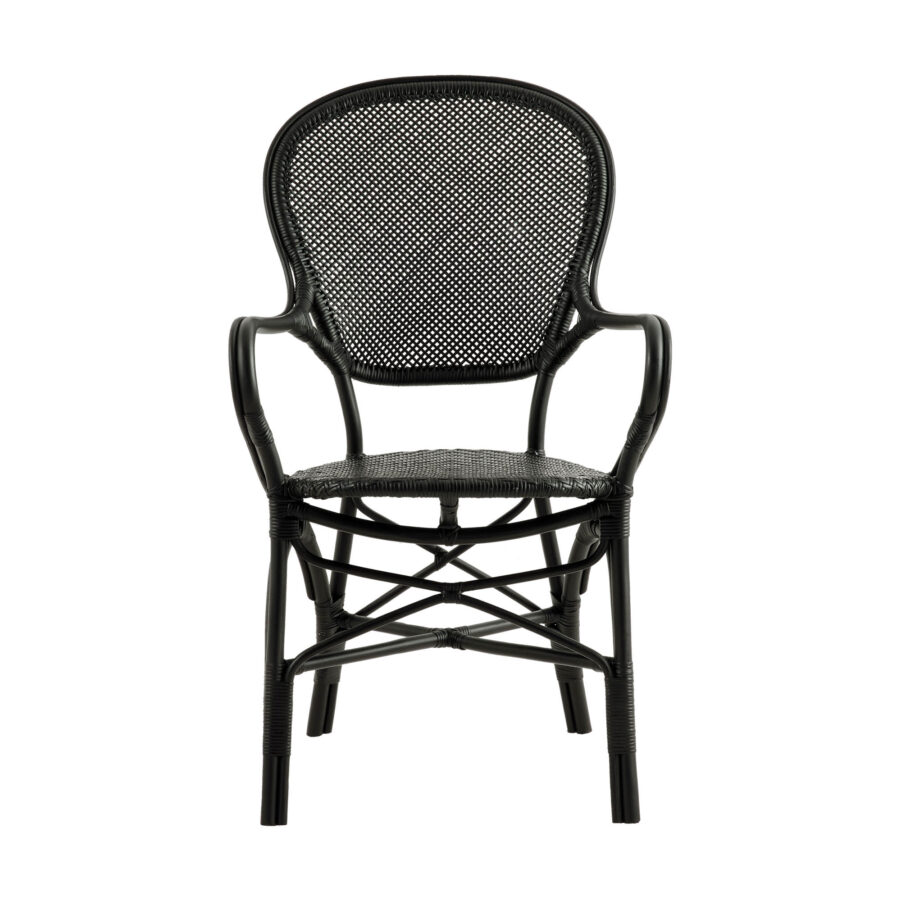 Bild framifrån på Rossini karmstol i färgen svart.