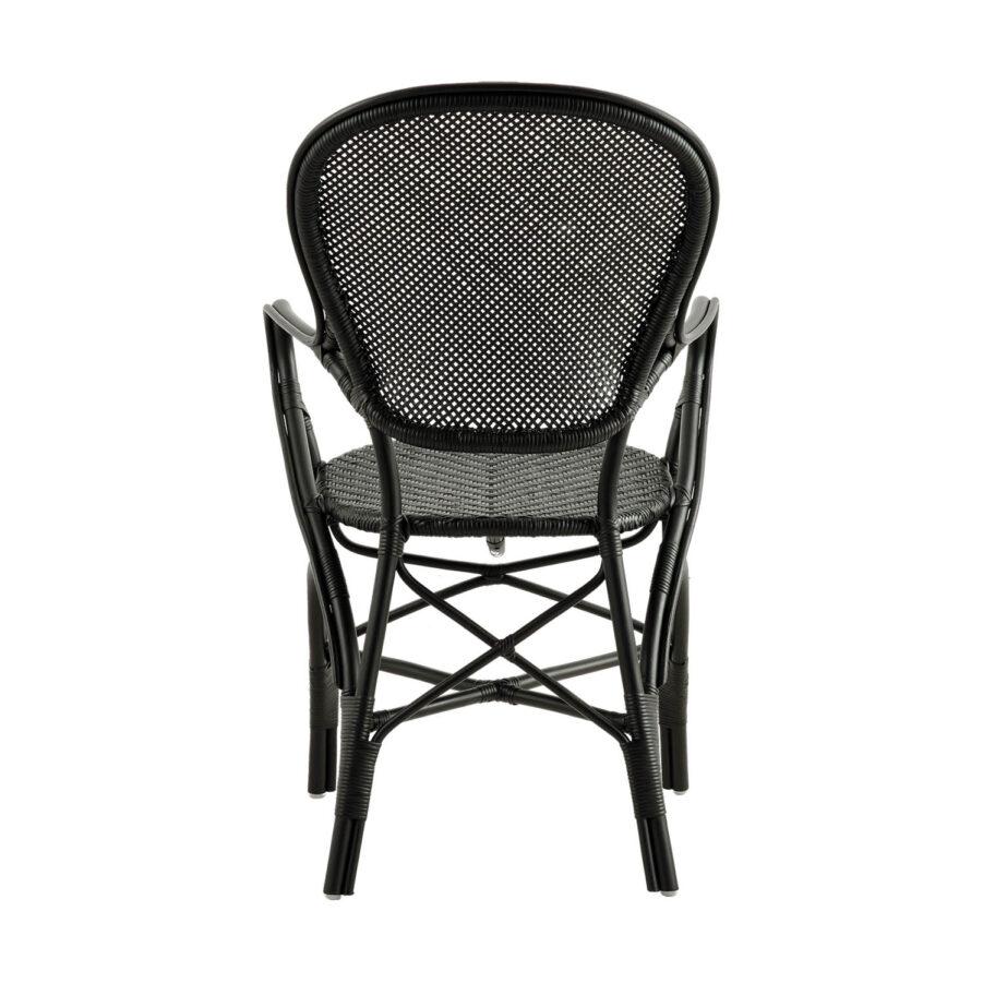 Bild bakifrån på Rossini karmstol i färgen svart.