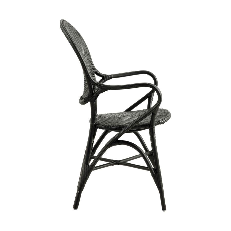 Bild från sidan på Rossini karmstol i färgen svart.