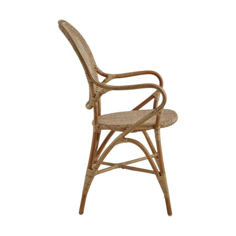 Bild från sidan på Rossini karmstol i färgen antik.