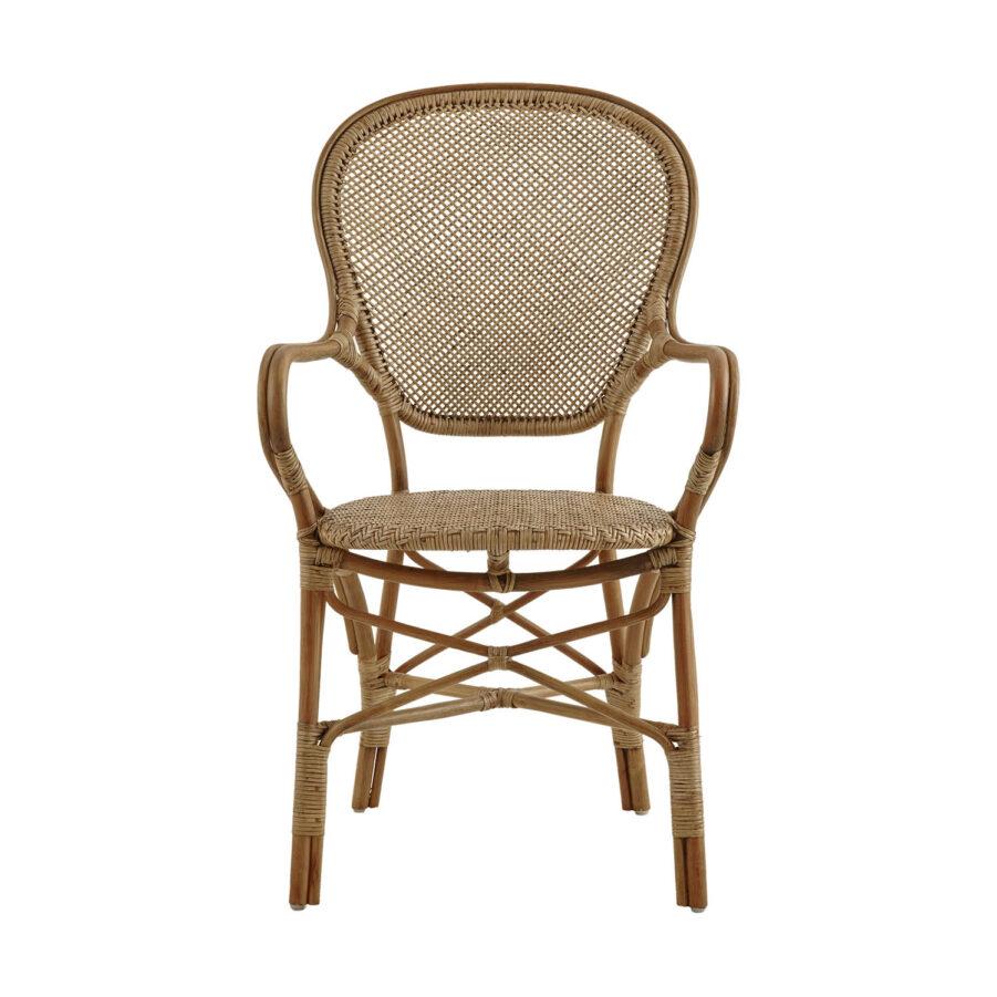 Bild framifrån på Rossini karmstol i färgen antik.