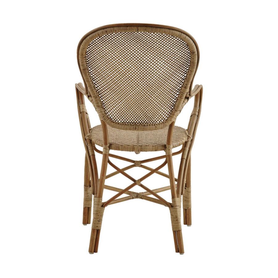 Bild bakifrån på Rossini karmstol i färgen antik.