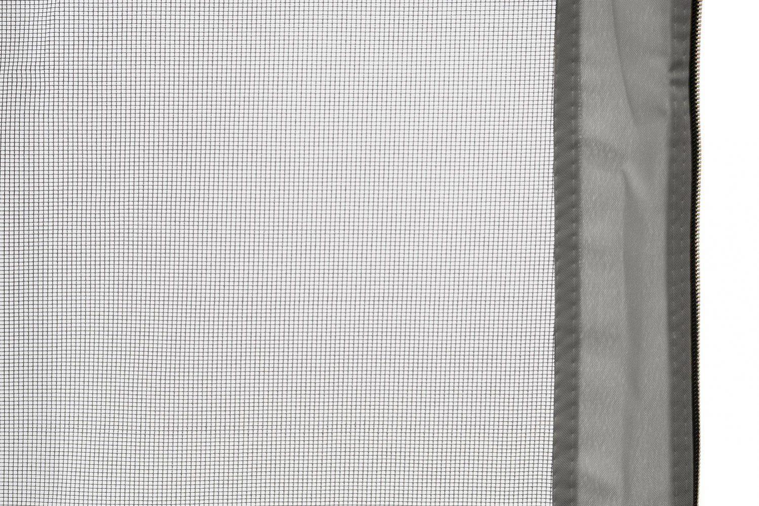 Detaljbild på myggnätet till Luxor paviljongen i grått.