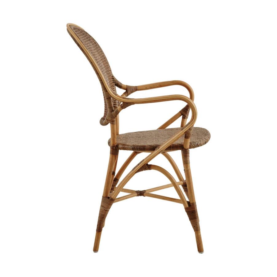Bild från sidan på Rossini karmstol i färgen körsbär.