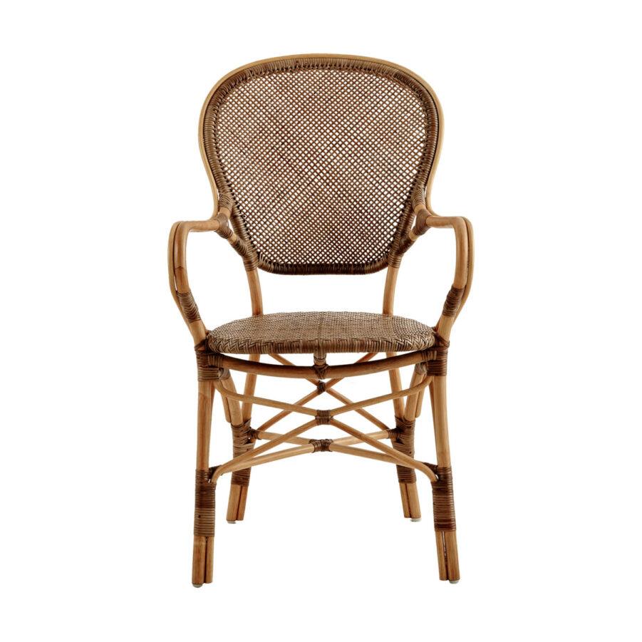 Bild framifrån av Rossini karmstol i färgen körsbär.