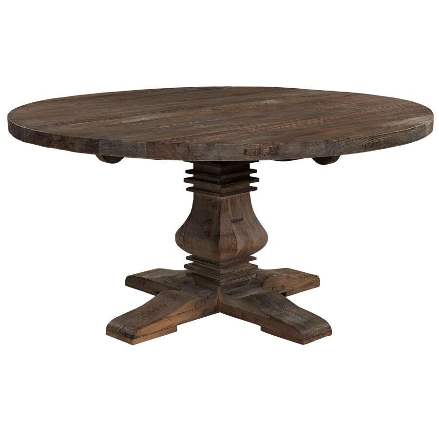 Salvage matbord i alm med diameter 150 cm.