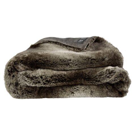 En pläd i fuskpäls från Artwood med måtten 127x150 cm.