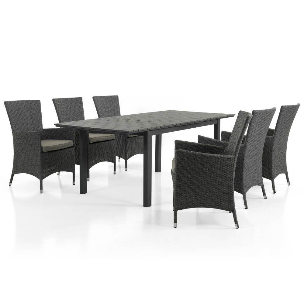 Ninja karmstol i grått med Tilos förlängningsbord.