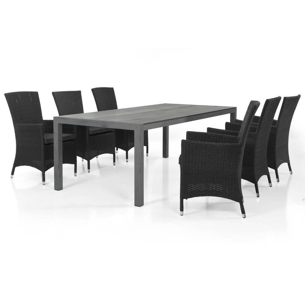 Ninja karmstolar i svart med ett grått Crescendo bord.