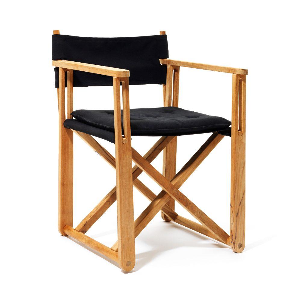 På Kryss stol i teak och svart textil.
