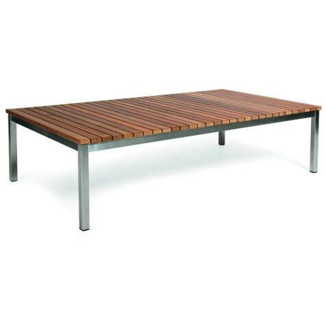 Häringe soffbord i teak och borstat stål i storleken 142x85 cm.