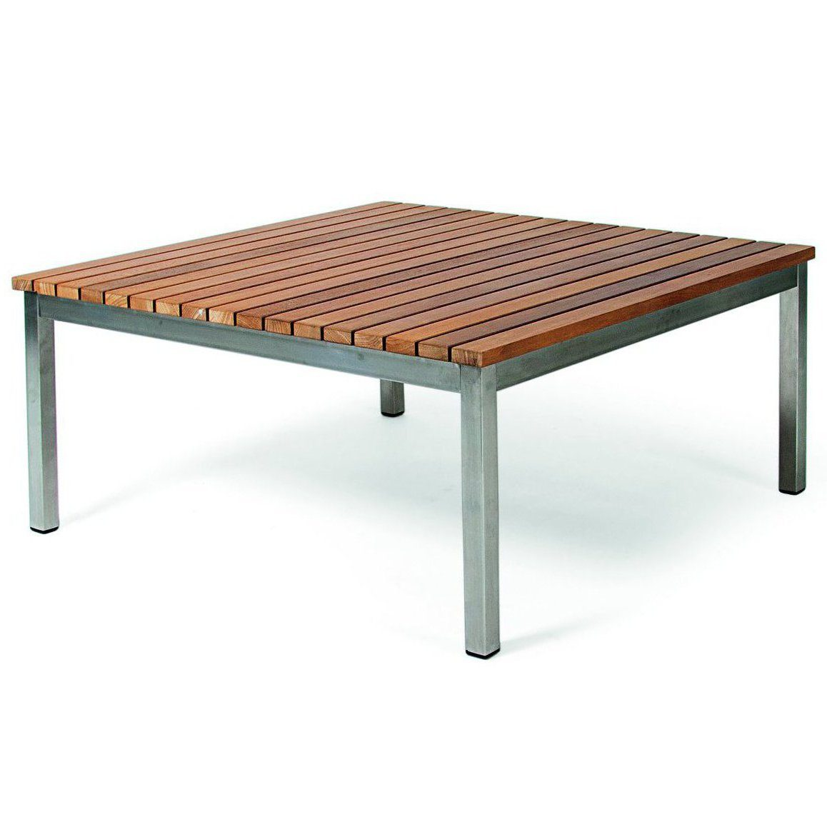 Häringe soffbord i teak och borstat stål i storleken 85x85 cm.