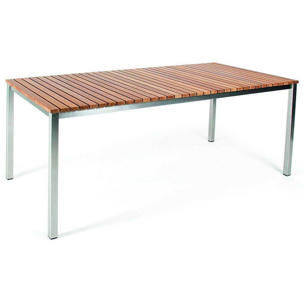 Häringe matbord i teak och borstat stål i storleken 170x85 cm.