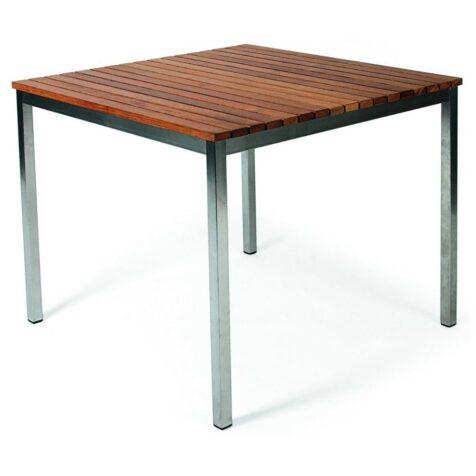 Häringe matbord i teak och borstat stål i storleken 85x85 cm.