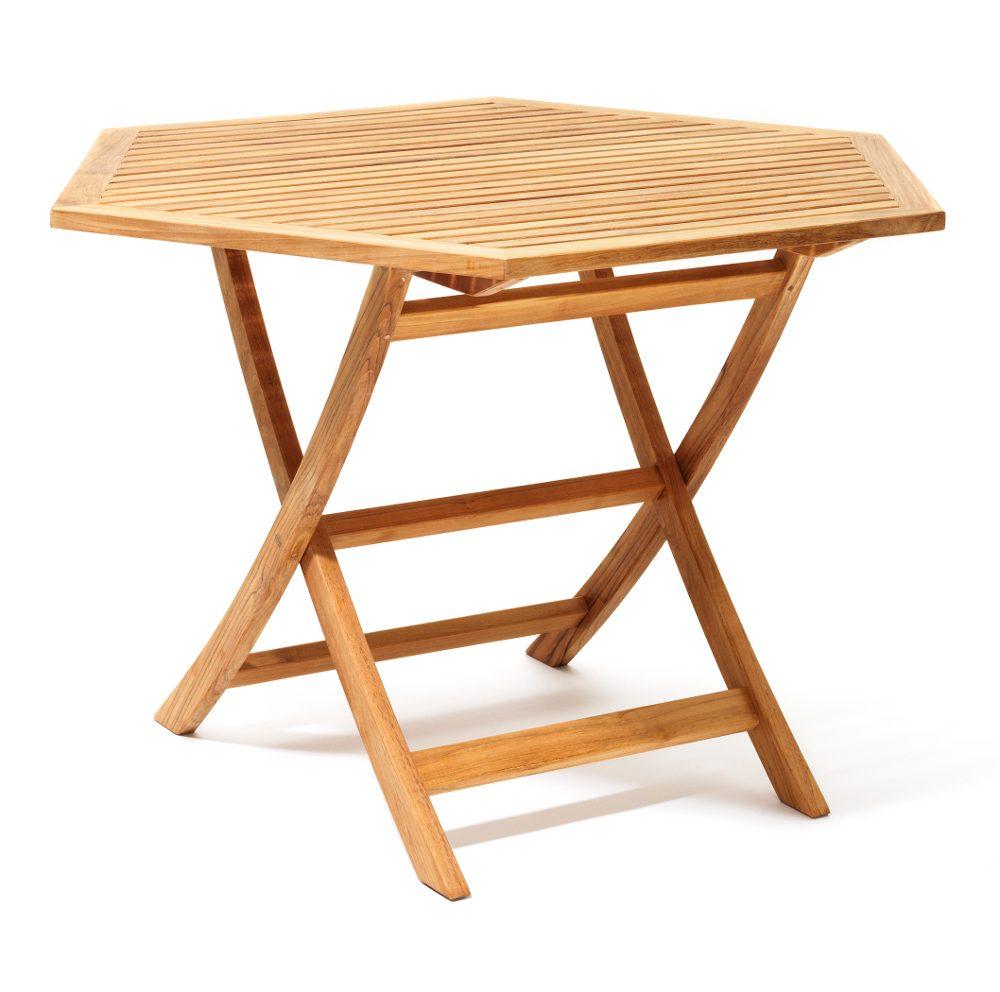 Viken bord i teak med storleken Ø110 cm.