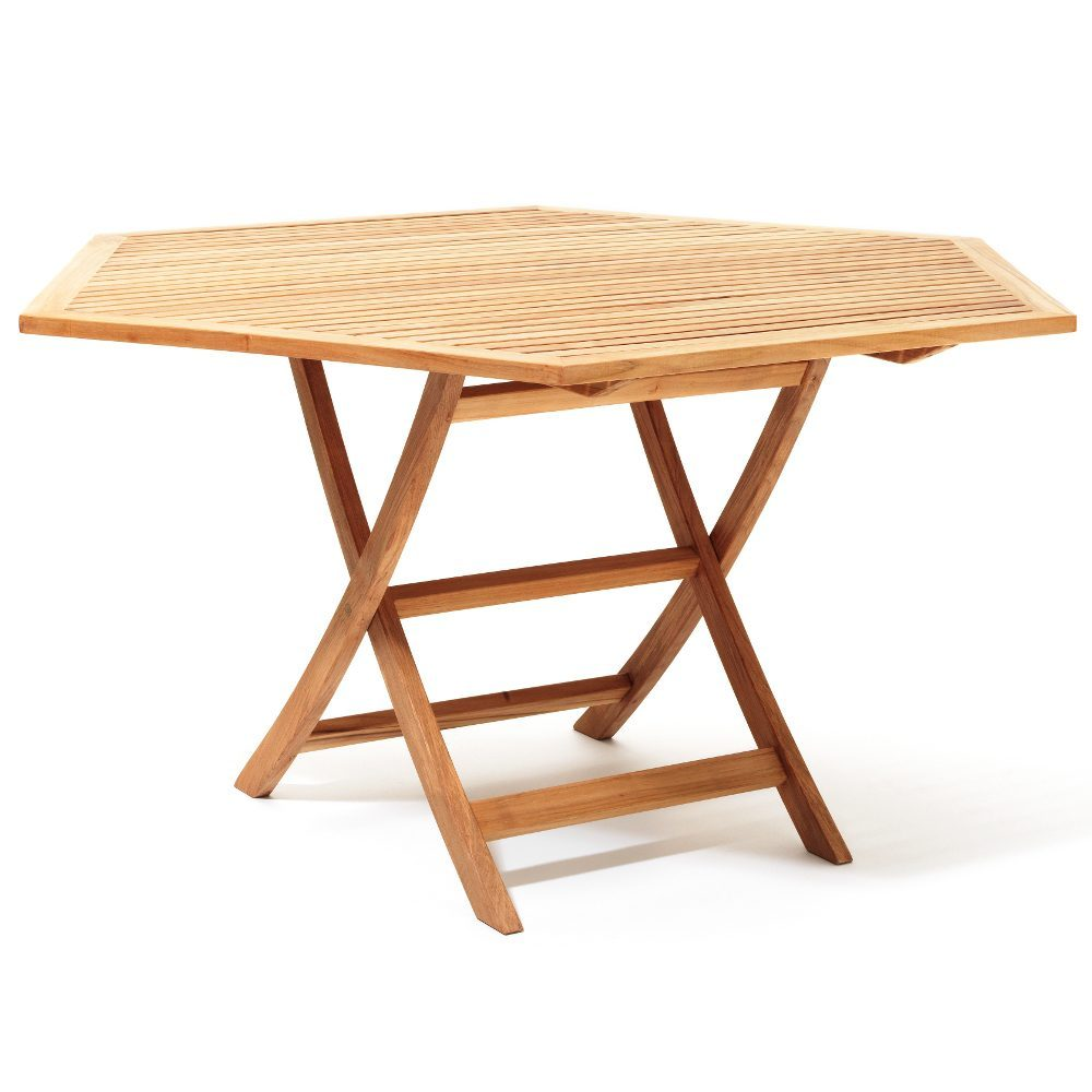 Viken bord i teak med storleken Ø140 cm.