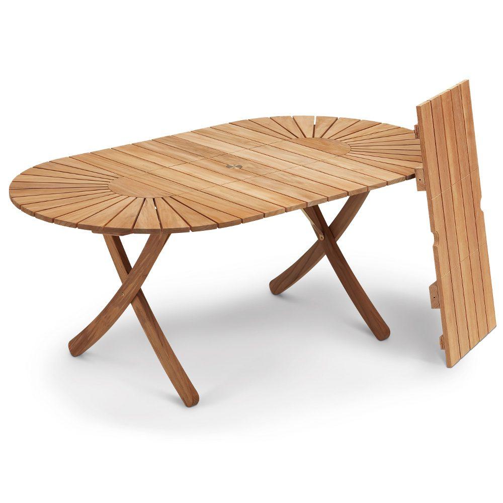 Selandia ovalt bord i teak med måtten 100x180/280 cm.