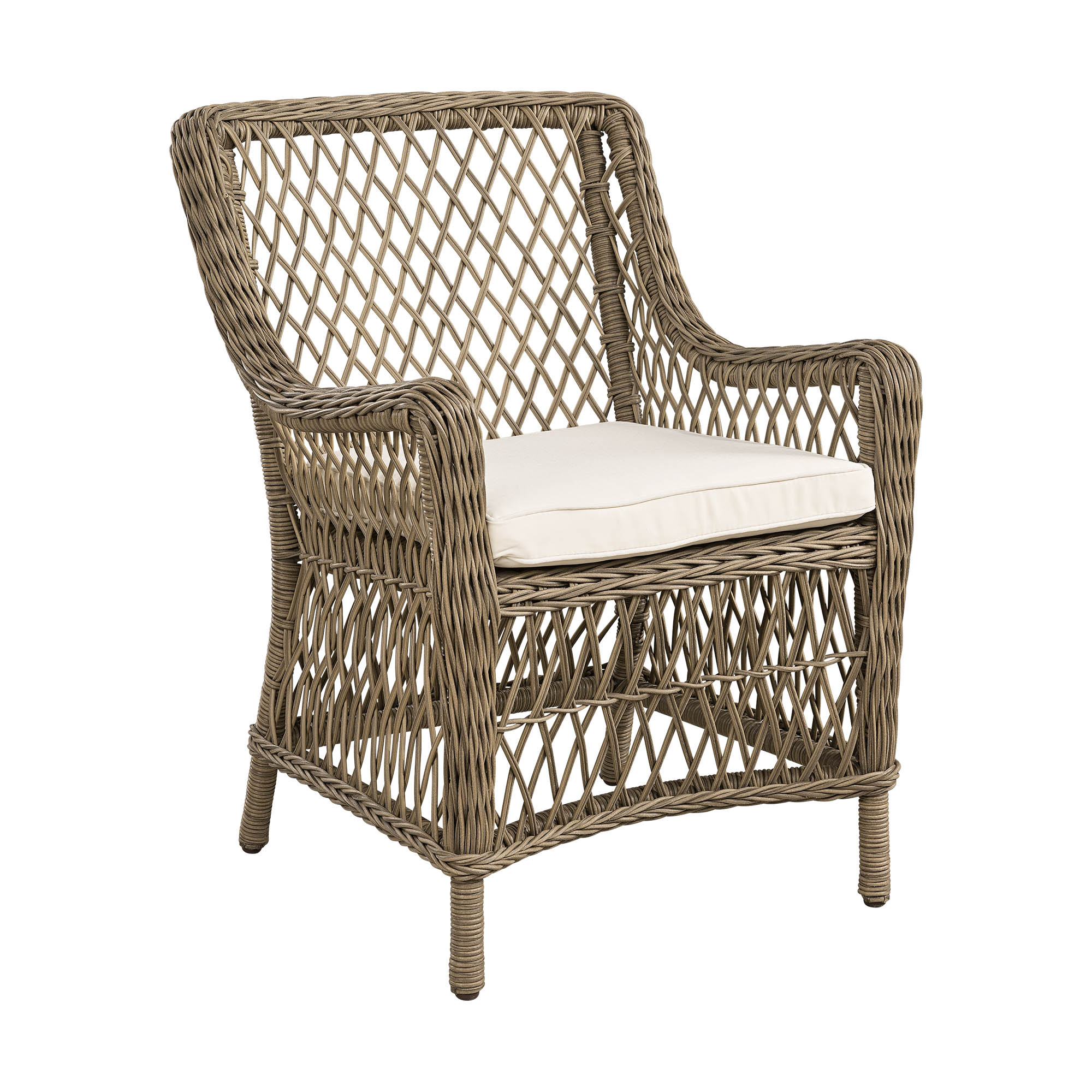 Marbella karmstol i vintage grå konstrotting från Artwood.