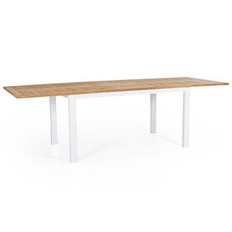 Lyon förlängningsbord i teak och lackad aluminium i vitt, storlek 194-252x92 cm.