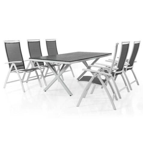 Sunny positionsstol i vit aluminium med grå textilene och Leone bord i vitt och grått.