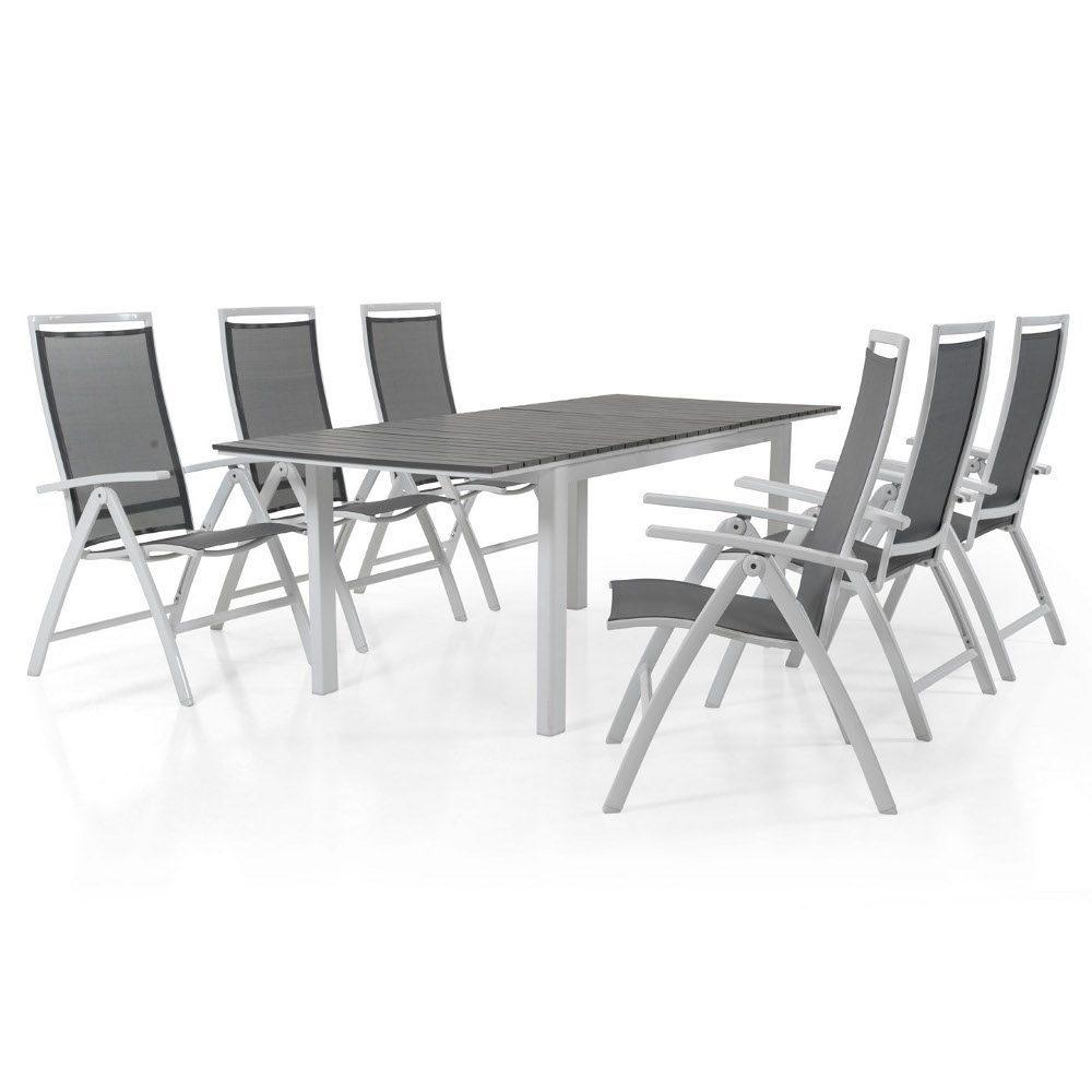 Sunny positionsstol i vit/grå och Tilos förlängningsbord med vit stomme och grå skiva.