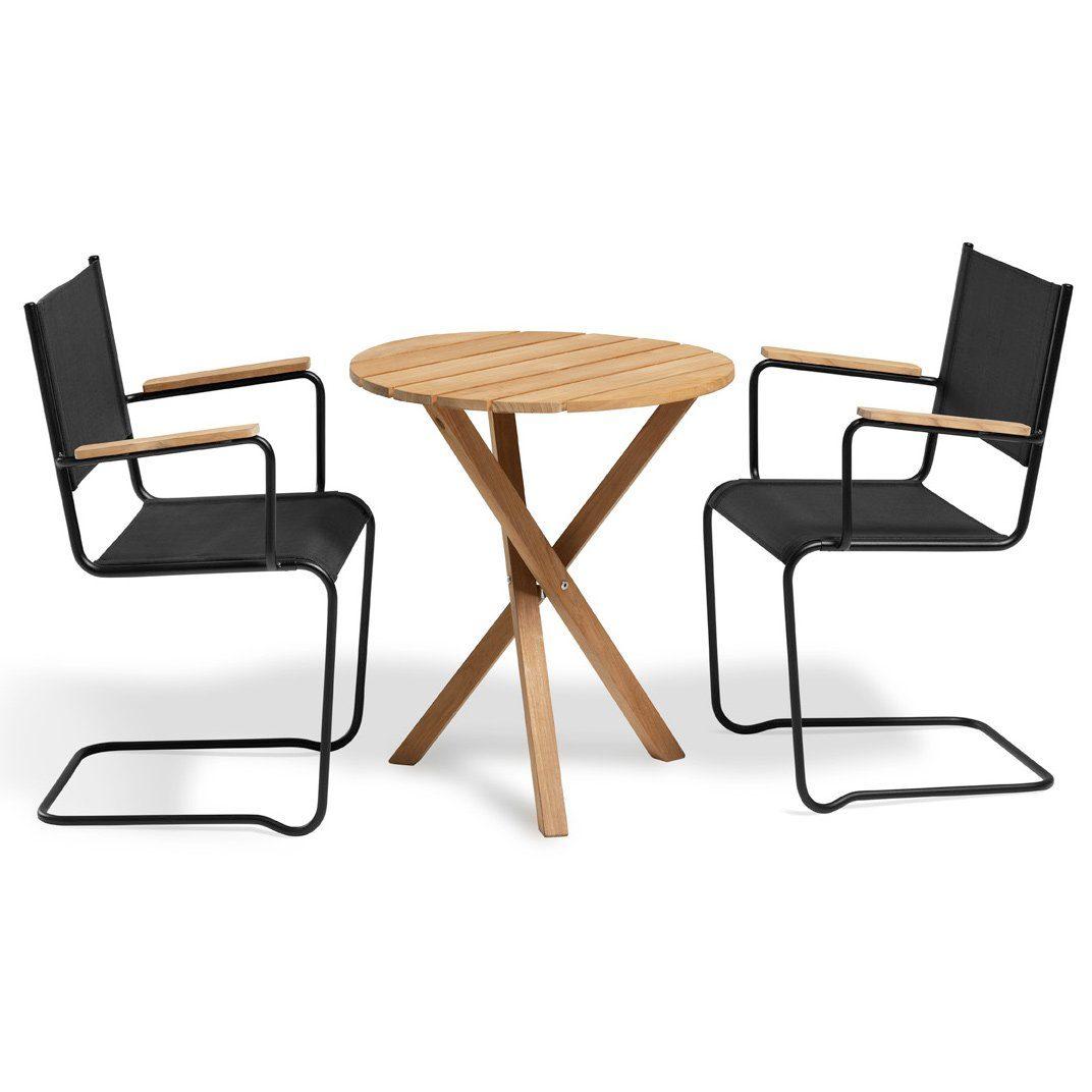 Summer fåtölj i svart med Summer cafébord från Inout | Form.
